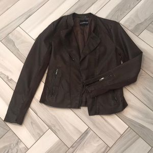 Express brown faux leather moto jacket